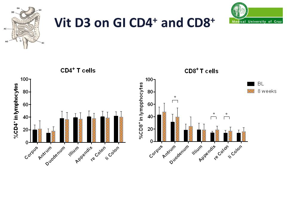 Vit D3 on GI CD4 + and CD8 +