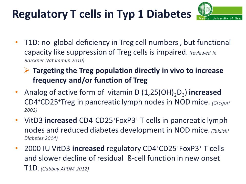 RCT: Vit D3 in patients with T1D 30 Patients with new-onset T1D (<12 weeks) Intervention 12 month: – oral therapy of cholecalciferol (70IU/kg bodyweight/day) – or placebo Immunologic Assessment at month 0, 3, 6 and 12: – Immune phenotyping: FACS-analysis CD4 pos CD25 hi Foxp3 pos CD127 dim Treg Th-Subtypes (Th1, Th2, Th17) DC, B-cells, NK, NKT-cells – functional tests: FACS sorted Treg and Teff ex vivo suppression co-cultures ( 3 H-thymidine incorporation) Apoptosis (AnnexinV/7-AAD)