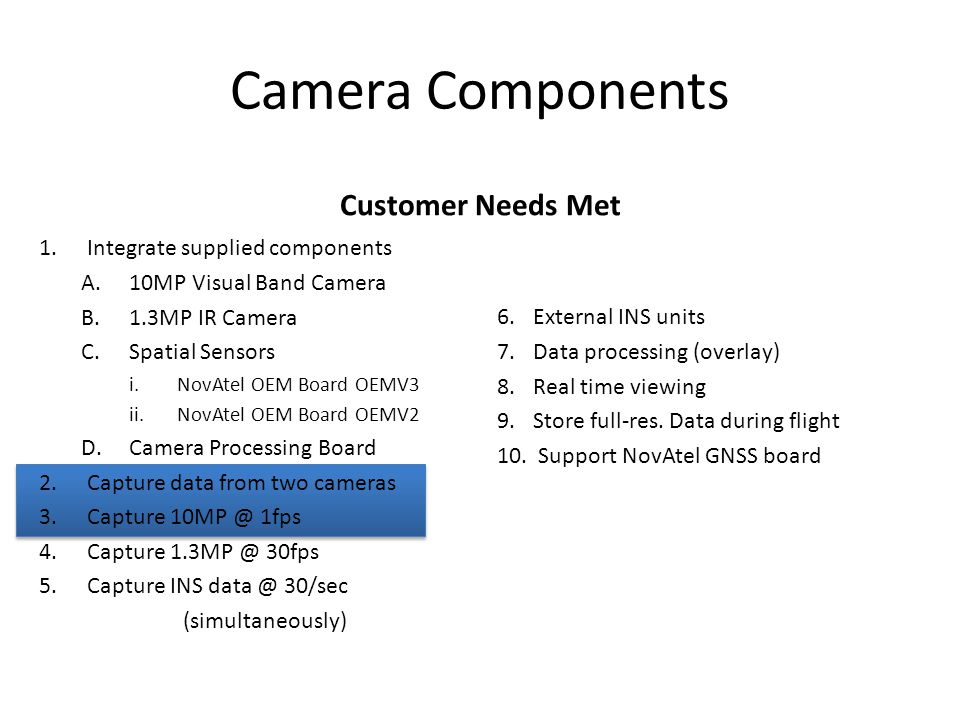 1.Integrate supplied components A.10MP Visual Band Camera B.1.3MP IR Camera C.Spatial Sensors i.NovAtel OEM Board OEMV3 ii.NovAtel OEM Board OEMV2 D.Camera Processing Board 2.Capture data from two cameras 3.Capture 10MP @ 1fps 4.Capture 1.3MP @ 30fps 5.Capture INS data @ 30/sec (simultaneously) Camera Components Customer Needs Met 6.External INS units 7.Data processing (overlay) 8.Real time viewing 9.Store full-res.