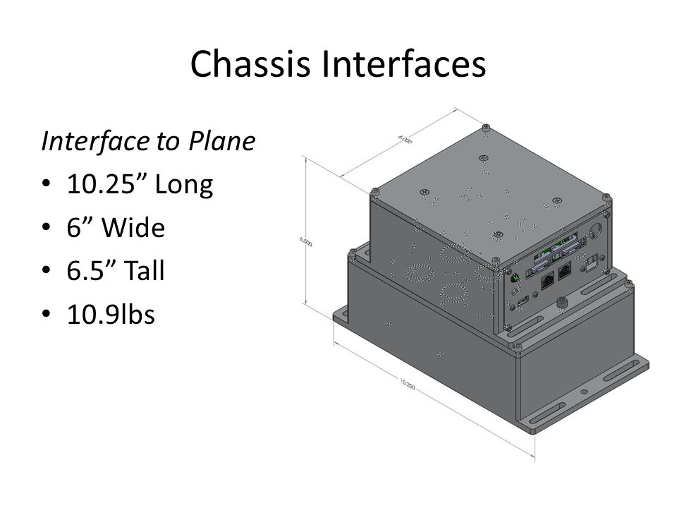 Chassis Interfaces Interface to Plane 10.25 Long 6 Wide 6.5 Tall 10.9lbs