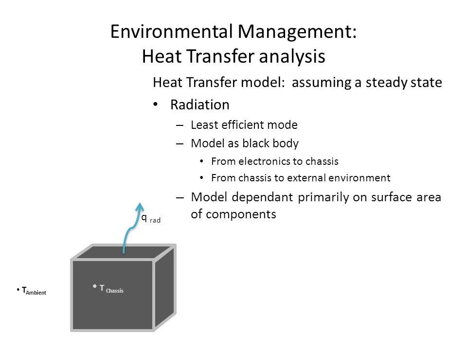 Environmental Management: Heat Transfer analysis Heat Transfer model: assuming a steady state Radiation – Least efficient mode – Model as black body From electronics to chassis From chassis to external environment – Model dependant primarily on surface area of components q rad T Chassis T Ambient