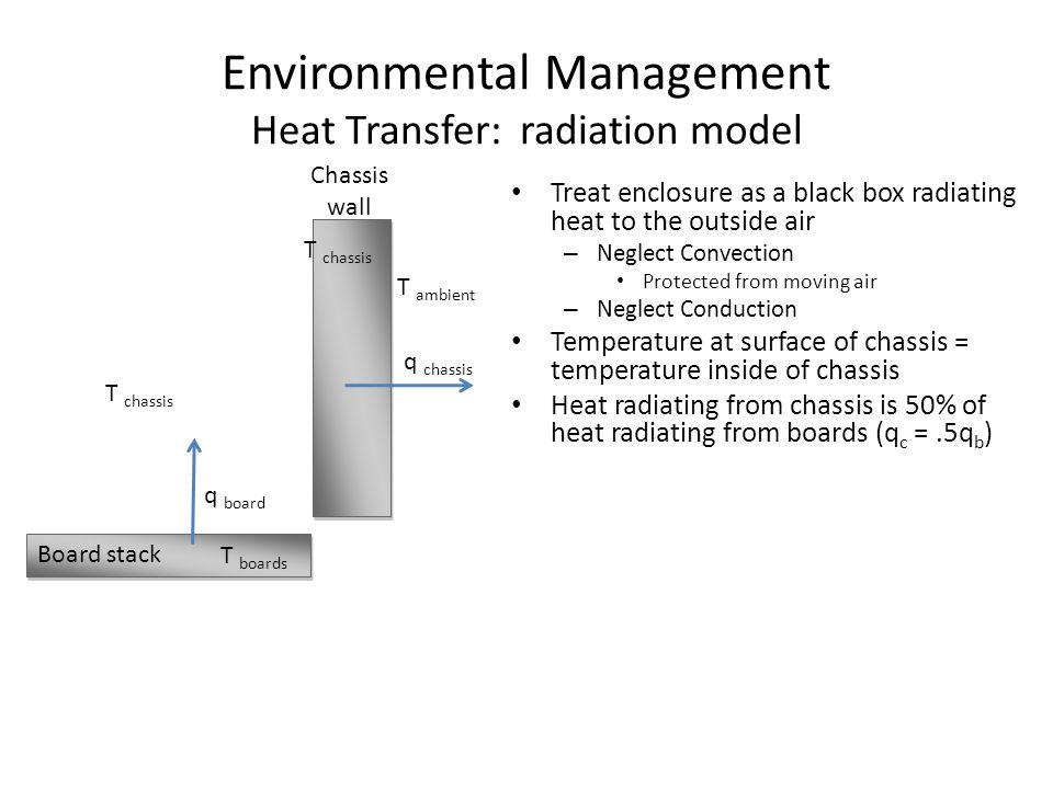 Environmental Management Heat Transfer: radiation model Treat enclosure as a black box radiating heat to the outside air – Neglect Convection Protected from moving air – Neglect Conduction Temperature at surface of chassis = temperature inside of chassis Heat radiating from chassis is 50% of heat radiating from boards (q c =.5q b ) Board stack Chassis wall q chassis q board T chassis T boards T ambient T chassis