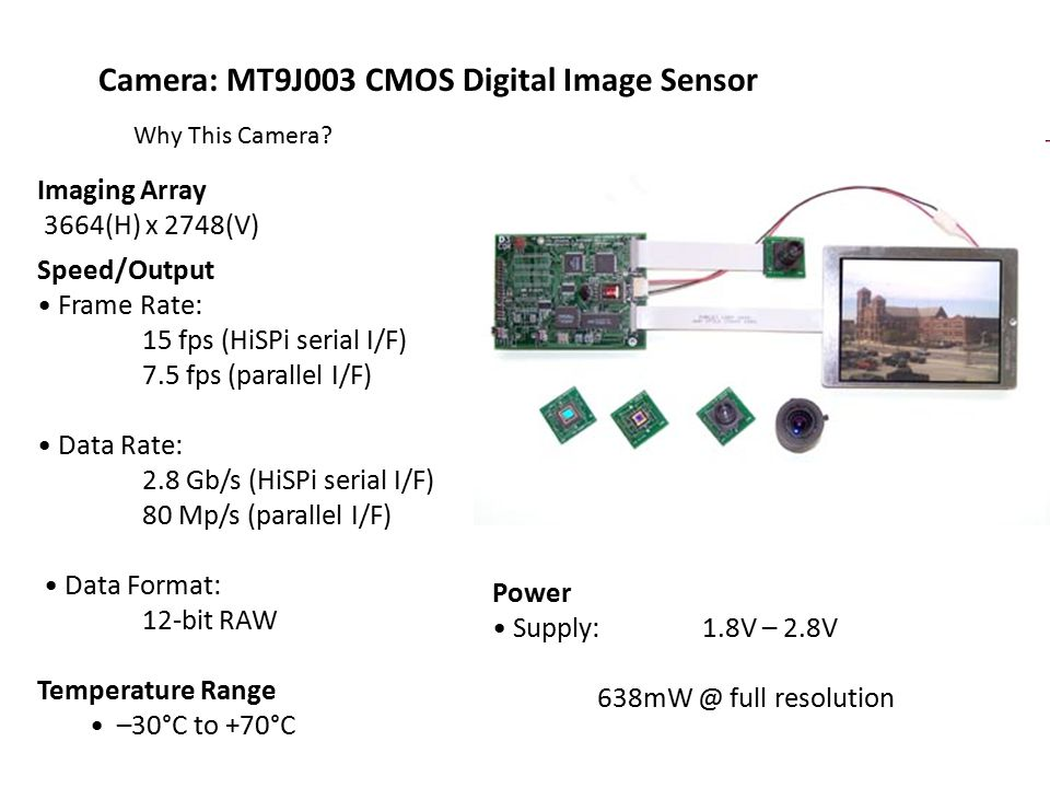 Interfaces D3 Camera Interface -16-bit parallel output -6 Miscellaneous positions -Two wire I²C bus interface -Several clock and control positions CameraLink -LVDS to achieve theoretical transmission rate of 1.923Gbps -Not dependent on a particular supply voltage because of low signal voltage swing GigE -High bandwidth for high-speed, and high resolution cameras -Downward compatible with 10/100 Mhz Ethernet -Operates at a fast frame rate