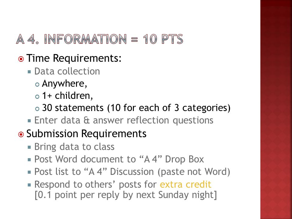  Time Requirements:  Data collection Anywhere, 1+ children, 30 statements (10 for each of 3 categories)  Enter data & answer reflection questions 