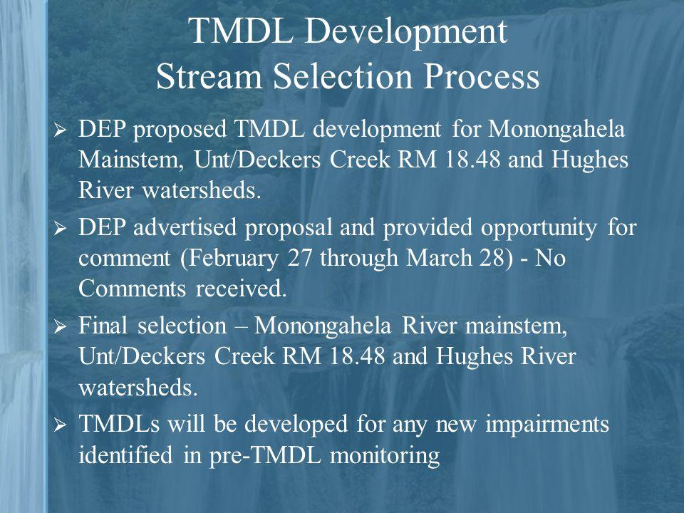  DEP proposed TMDL development for Monongahela Mainstem, Unt/Deckers Creek RM 18.48 and Hughes River watersheds.
