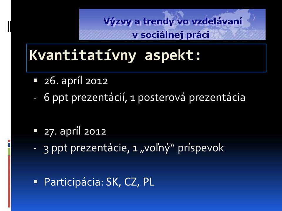 Kvantitatívny aspekt:  26.apríl 2012 - 6 ppt prezentácií, 1 posterová prezentácia  27.