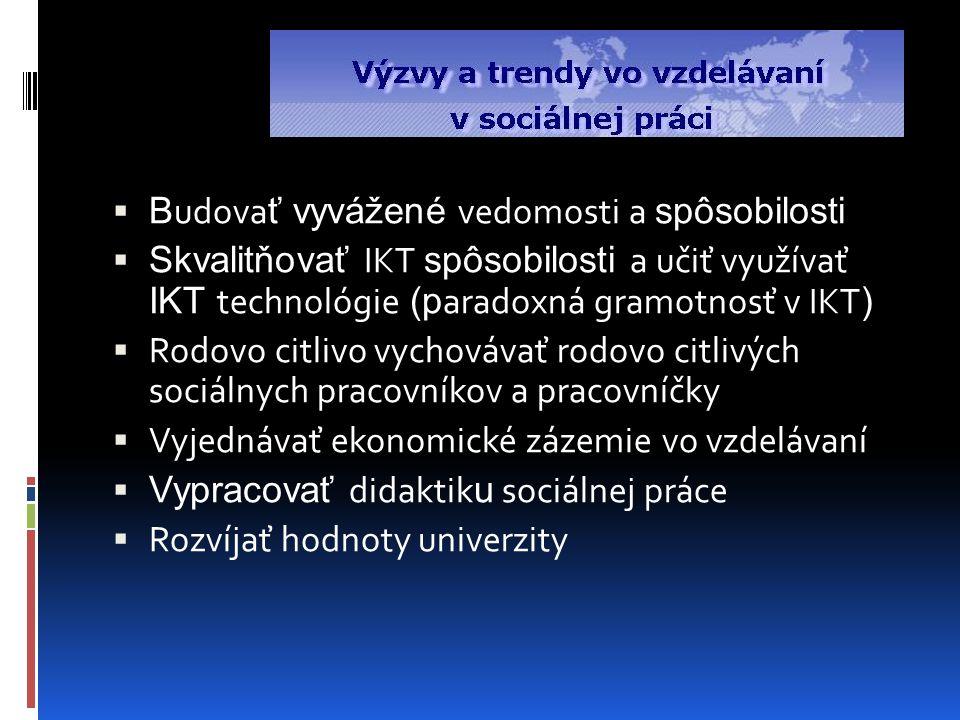 B udova ť vyvážené vedomosti a spôsobilosti  Skvalitňovať IKT spôsobilosti a učiť využívať IKT technológie (p aradoxná gramotnosť v IKT )  Rodovo citlivo vychovávať rodovo citlivých sociálnych pracovníkov a pracovníčky  Vyjednávať ekonomické zázemie vo vzdelávaní  Vypracovať didaktik u sociálnej práce  Rozvíjať hodnoty univerzity