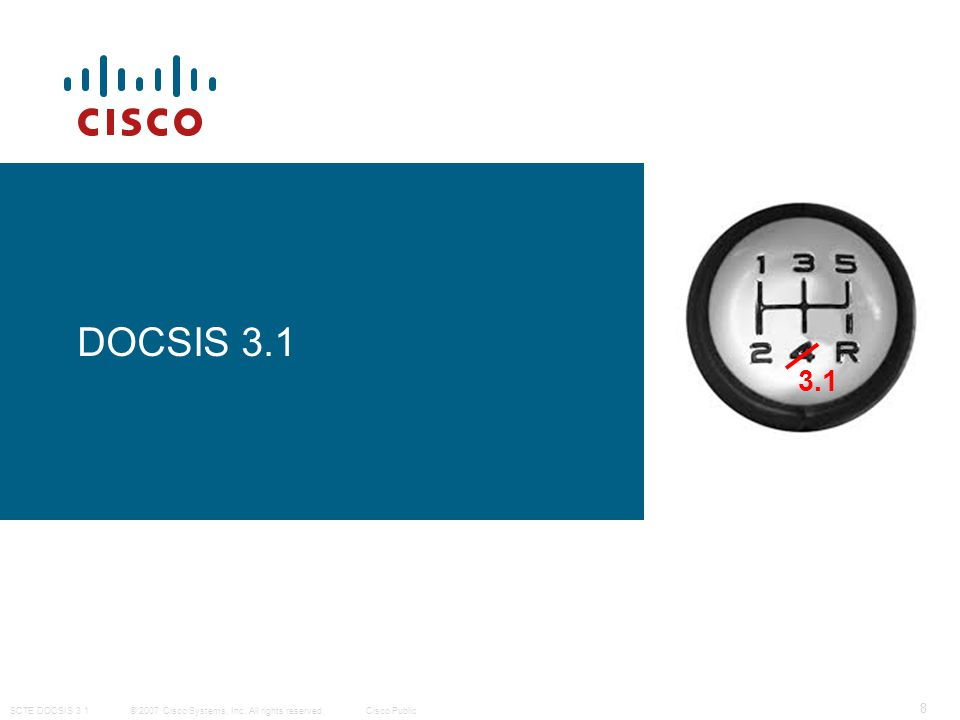 © 2007 Cisco Systems, Inc. All rights reserved. Cisco Public SCTE DOCSIS 3.1 8 DOCSIS 3.1 3.1