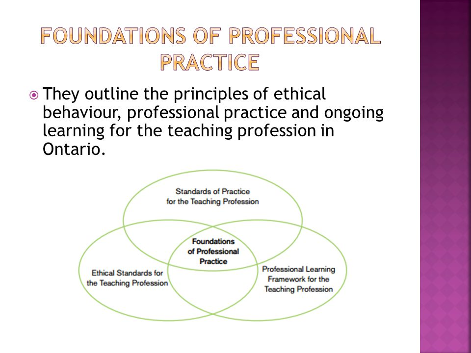  They outline the principles of ethical behaviour, professional practice and ongoing learning for the teaching profession in Ontario.