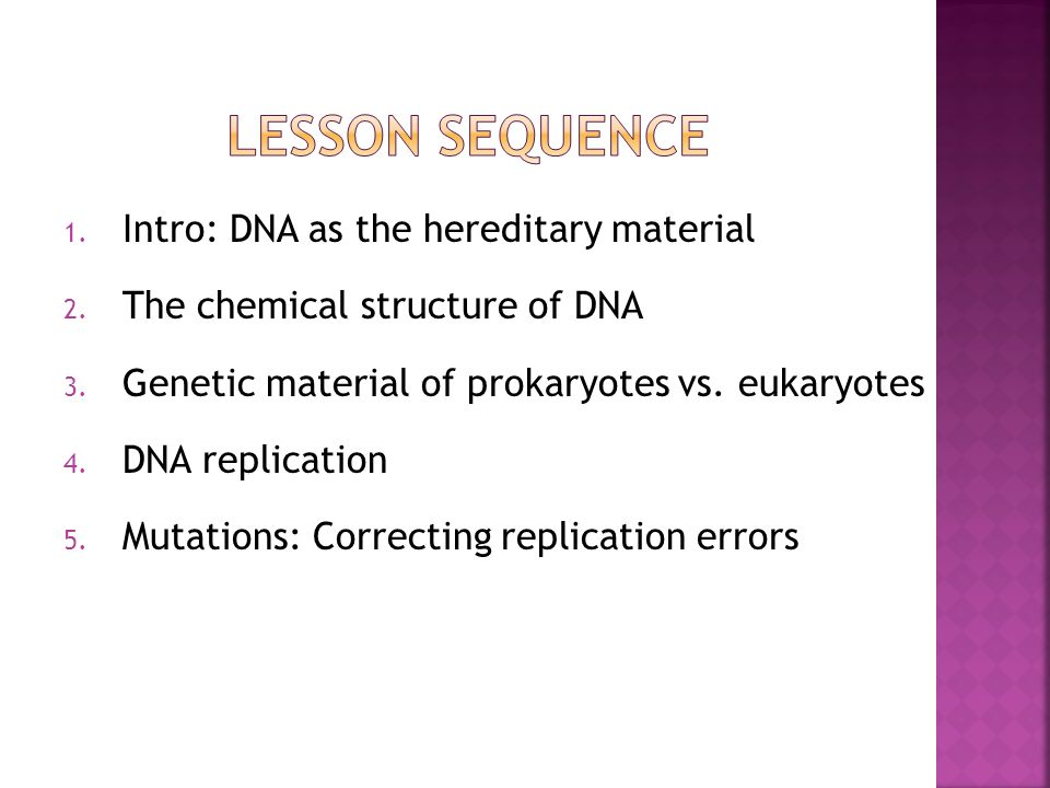 1. Intro: DNA as the hereditary material 2. The chemical structure of DNA 3.