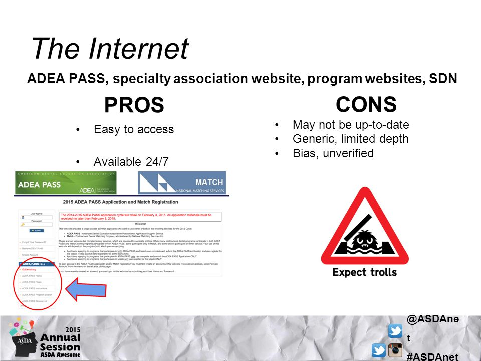 @ASDAne t #ASDAnet The Internet PROS Easy to access Available 24/7 CONS May not be up-to-date Generic, limited depth Bias, unverified ADEA PASS, specialty association website, program websites, SDN