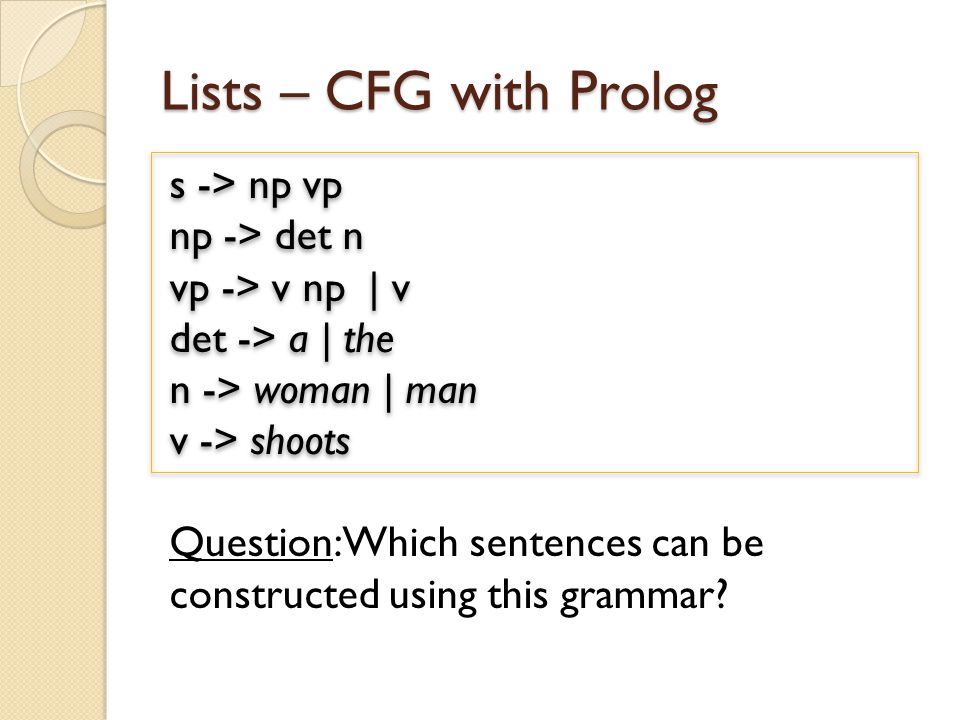 Lists – CFG with Prolog Question: Which sentences can be constructed using this grammar.
