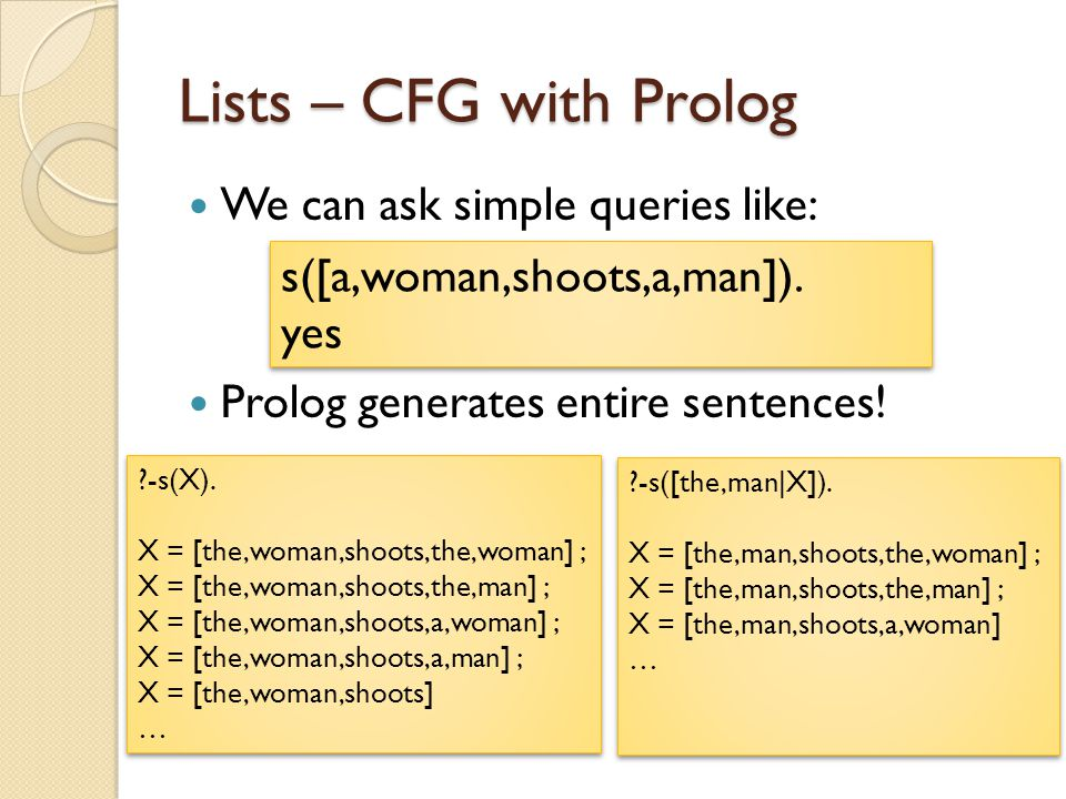 Lists – CFG with Prolog We can ask simple queries like: Prolog generates entire sentences! s([a,woman,shoots,a,man]). yes ?-s(X). X = [the,woman,shoot