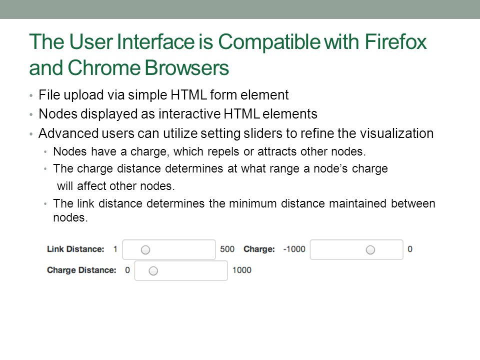 The User Interface is Compatible with Firefox and Chrome Browsers File upload via simple HTML form element Nodes displayed as interactive HTML element