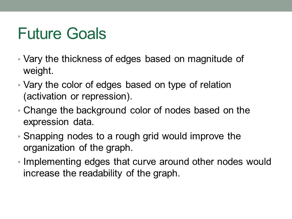 Future Goals Vary the thickness of edges based on magnitude of weight. Vary the color of edges based on type of relation (activation or repression). C