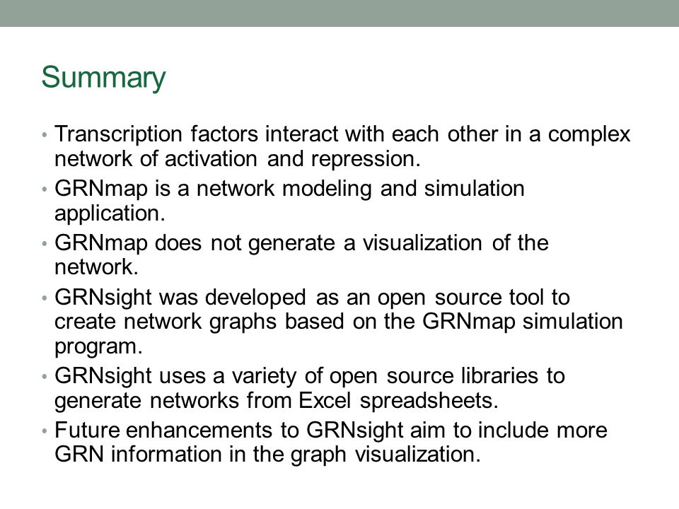 Summary Transcription factors interact with each other in a complex network of activation and repression. GRNmap is a network modeling and simulation