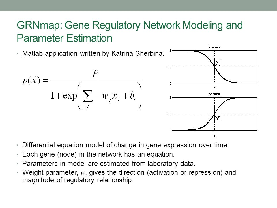 GRNmap: Gene Regulatory Network Modeling and Parameter Estimation Matlab application written by Katrina Sherbina. Differential equation model of chang