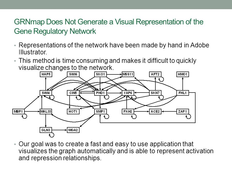 How GRNsight Works: Use Case Diagram The user uploads an Excel spreadsheet with network data.