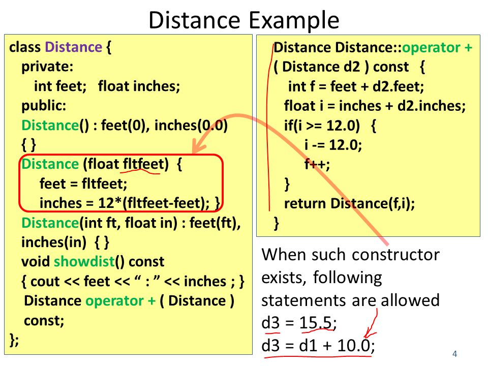 4 Distance Example class Distance { private: int feet; float inches; public: Distance() : feet(0), inches(0.0) { } Distance (float fltfeet) { feet = fltfeet; inches = 12*(fltfeet-feet); } Distance(int ft, float in) : feet(ft), inches(in) { } void showdist() const { cout << feet << : << inches ; } Distance operator + ( Distance ) const; }; Distance Distance::operator + ( Distance d2 ) const { int f = feet + d2.feet; float i = inches + d2.inches; if(i >= 12.0) { i -= 12.0; f++; } return Distance(f,i); } When such constructor exists, following statements are allowed d3 = 15.5; d3 = d1 + 10.0;