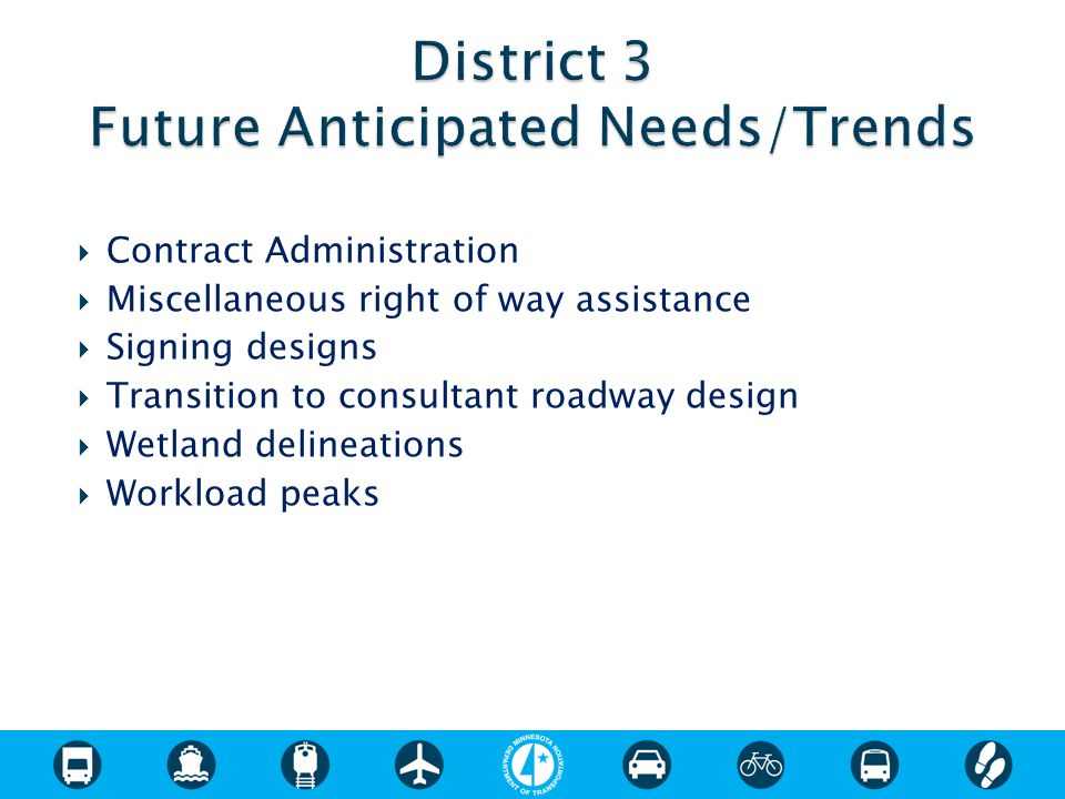  Contract Administration  Miscellaneous right of way assistance  Signing designs  Transition to consultant roadway design  Wetland delineations  Workload peaks