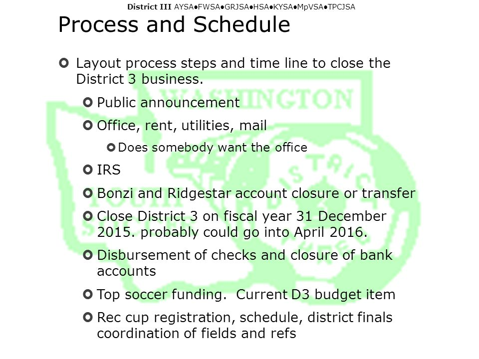 District III AYSA ● FWSA ● GRJSA ● HSA ● KYSA ● MpVSA ● TPCJSA Process and Schedule  Layout process steps and time line to close the District 3 business.