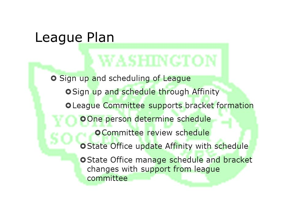 League Plan  Sign up and scheduling of League  Sign up and schedule through Affinity  League Committee supports bracket formation  One person determine schedule  Committee review schedule  State Office update Affinity with schedule  State Office manage schedule and bracket changes with support from league committee