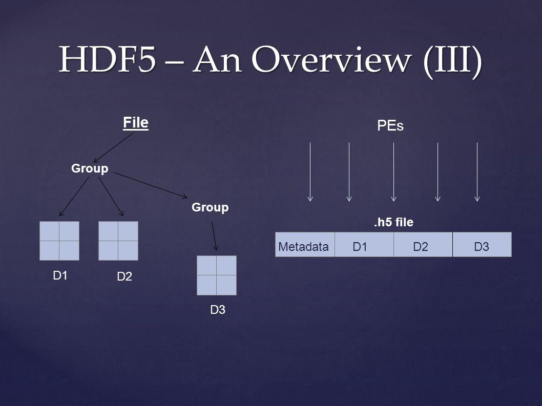 File HDF5 – An Overview (III) Group D1 D2 D3 Metadata D1 D2 D3.h5 file PEs