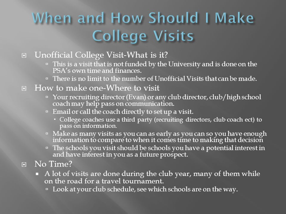  Unofficial College Visit-What is it.