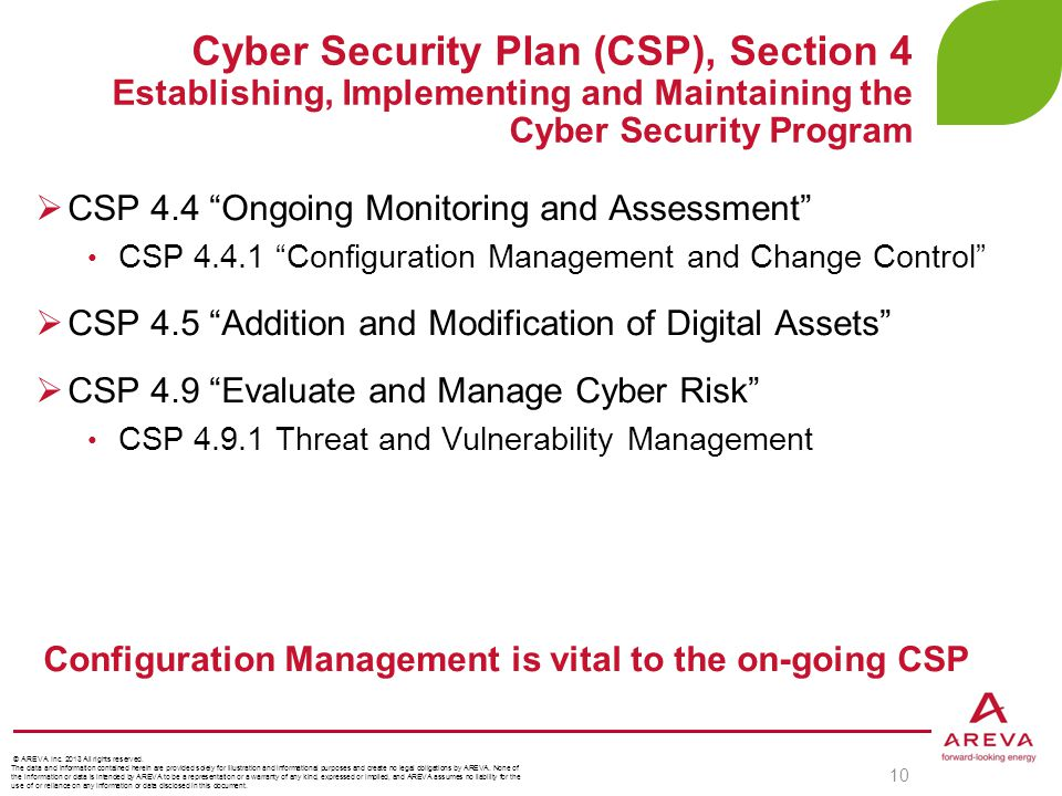 """Cyber Security Plan (CSP), Section 4 Establishing, Implementing and Maintaining the Cyber Security Program 10  CSP 4.4 """"Ongoing Monitoring and Assess"""