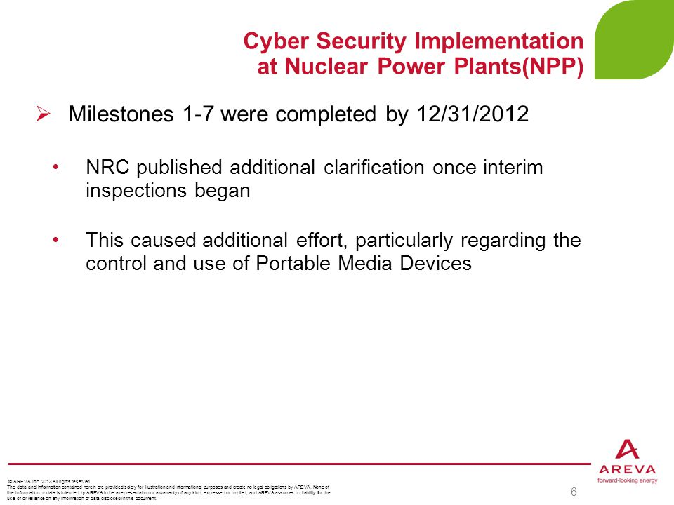 Cyber Security Implementation at Nuclear Power Plants(NPP)  Milestones 1-7 were completed by 12/31/2012 NRC published additional clarification once i