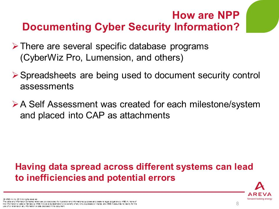  There are several specific database programs (CyberWiz Pro, Lumension, and others)  Spreadsheets are being used to document security control assess