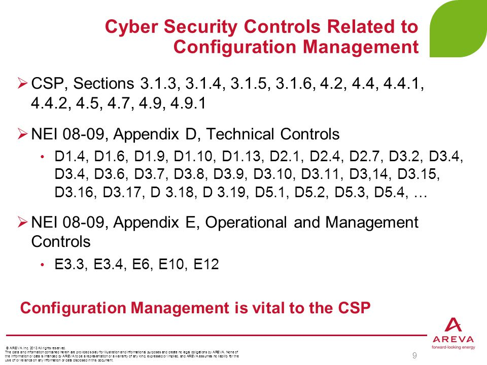 Cyber Security Controls Related to Configuration Management 9  CSP, Sections 3.1.3, 3.1.4, 3.1.5, 3.1.6, 4.2, 4.4, 4.4.1, 4.4.2, 4.5, 4.7, 4.9, 4.9.1