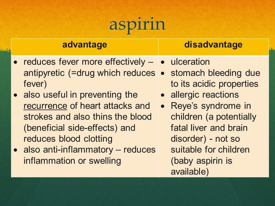 aspirin advantagedisadvantage  reduces fever more effectively – antipyretic (=drug which reduces fever)  also useful in preventing the recurrence of