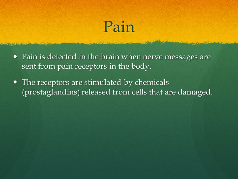 Pain Pain is detected in the brain when nerve messages are sent from pain receptors in the body. Pain is detected in the brain when nerve messages are