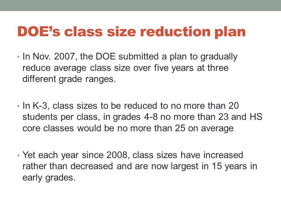 DOE's class size reduction plan In Nov.