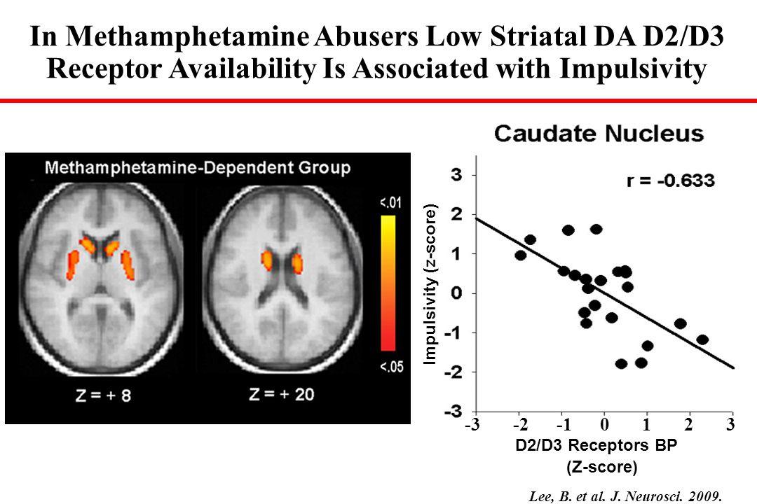 Correlations Between D2 Receptors in Striatum and Brain Glucose Metabolism Striatum CG PreF OFC 30 35 40 45 50 55 60 65 1.822.22.42.62.833.23.4 DA D2 Receptors (Ratio Index) OFC umol/100g/min r = 0.7, p < 0.001 30 40 50 60 70 80 90 2.933.13.23.33.43.53.6 OFC umol/100gr/min DA D2 Receptors(Bmax/kd) Cocaine Abusers r = 0.7, p < 0.005 METH Abusers control cocaine abuser Volkow et al., AJP 158(3):377-382, 2001.