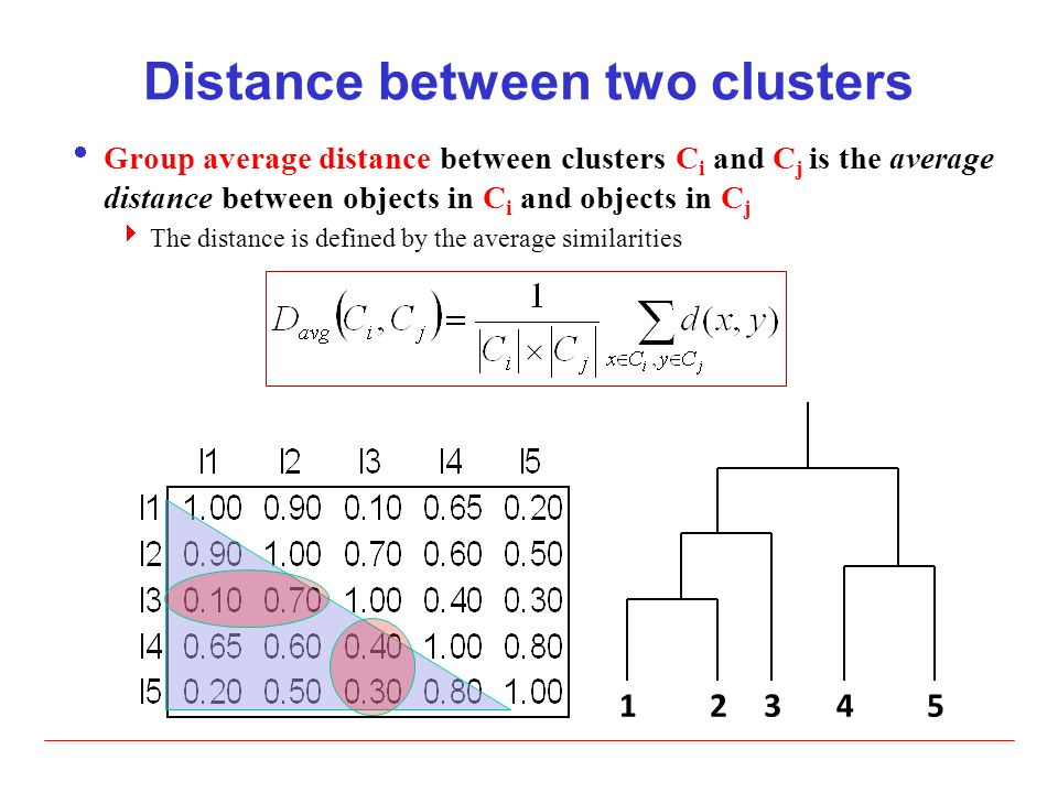 Distance between two clusters  Group average distance between clusters C i and C j is the average distance between objects in C i and objects in C j