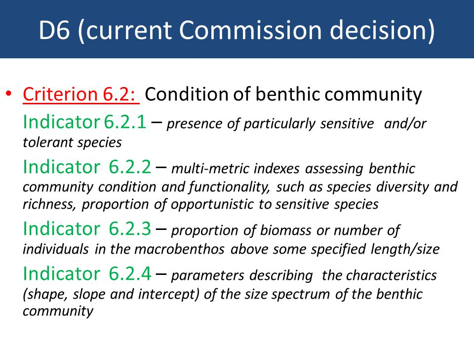 D6 (current Commission decision) Criterion 6.2: Condition of benthic community Indicator 6.2.1 – presence of particularly sensitive and/or tolerant species Indicator 6.2.2 – multi-metric indexes assessing benthic community condition and functionality, such as species diversity and richness, proportion of opportunistic to sensitive species Indicator 6.2.3 – proportion of biomass or number of individuals in the macrobenthos above some specified length/size Indicator 6.2.4 – parameters describing the characteristics (shape, slope and intercept) of the size spectrum of the benthic community