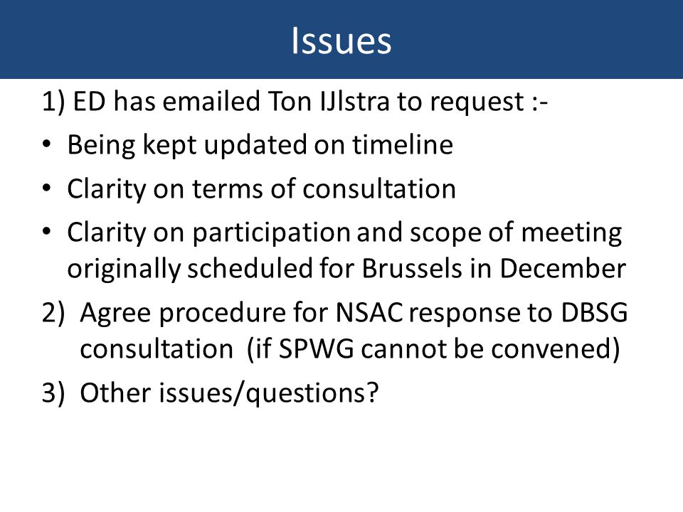 Issues 1) ED has emailed Ton IJlstra to request :- Being kept updated on timeline Clarity on terms of consultation Clarity on participation and scope of meeting originally scheduled for Brussels in December 2)Agree procedure for NSAC response to DBSG consultation (if SPWG cannot be convened) 3)Other issues/questions
