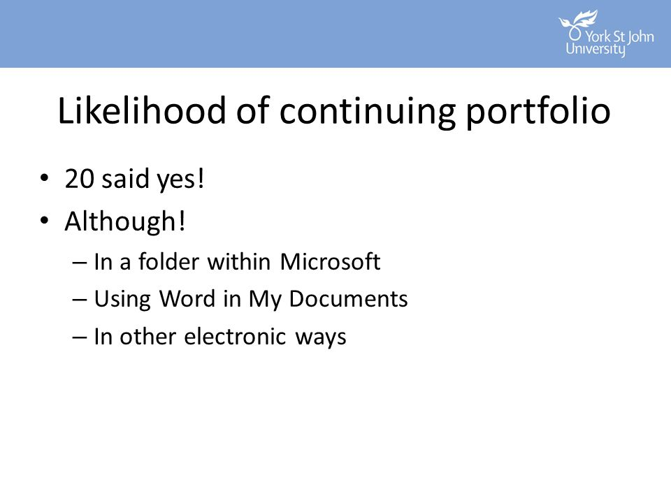 Likelihood of continuing portfolio 20 said yes! Although! – In a folder within Microsoft – Using Word in My Documents – In other electronic ways