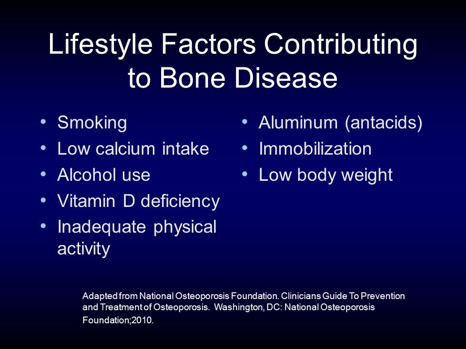 Lifestyle Factors Contributing to Bone Disease Smoking Low calcium intake Alcohol use Vitamin D deficiency Inadequate physical activity Aluminum (antacids) Immobilization Low body weight Adapted from National Osteoporosis Foundation.