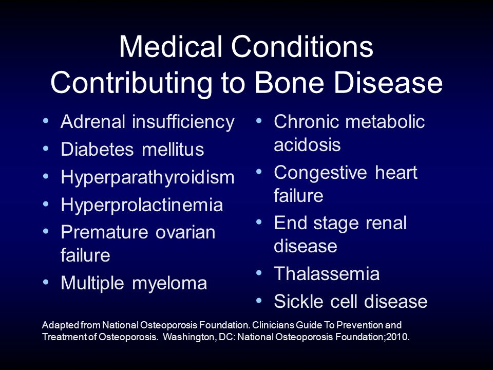 Medical Conditions Contributing to Bone Disease Adrenal insufficiency Diabetes mellitus Hyperparathyroidism Hyperprolactinemia Premature ovarian failure Multiple myeloma Chronic metabolic acidosis Congestive heart failure End stage renal disease Thalassemia Sickle cell disease Adapted from National Osteoporosis Foundation.