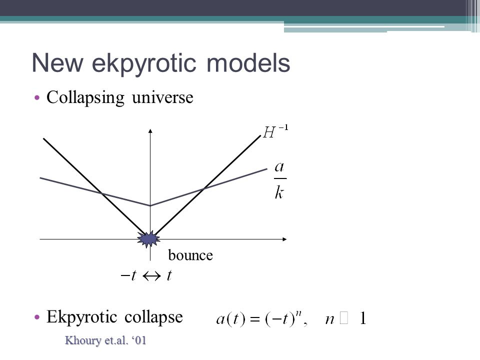 New ekpyrotic models Collapsing universe Ekpyrotic collapse bounce Khoury et.al. '01