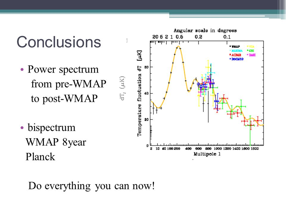 Conclusions Power spectrum from pre-WMAP to post-WMAP bispectrum WMAP 8year Planck Do everything you can now!