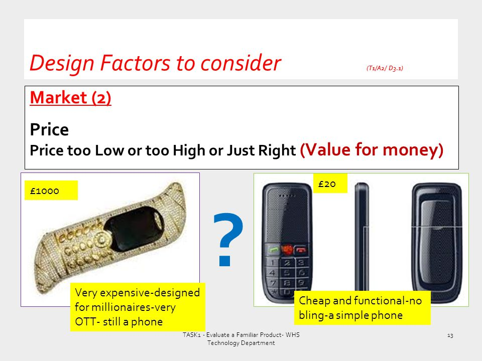 Market (2) Price Price too Low or too High or Just Right (Value for money) Design Factors to consider (T1/A2/ D3.1) TASK1 - Evaluate a Familiar Produc