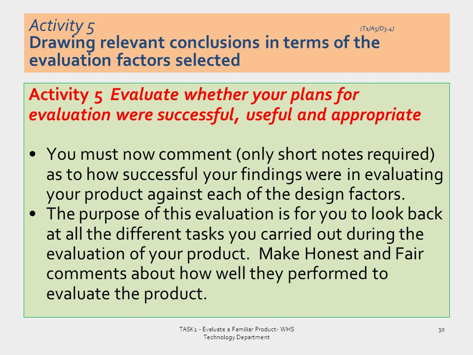 Activity 5 Evaluate whether your plans for evaluation were successful, useful and appropriate You must now comment (only short notes required) as to h
