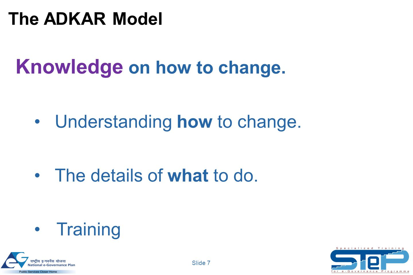 Slide 7 Knowledge on how to change. Understanding how to change.