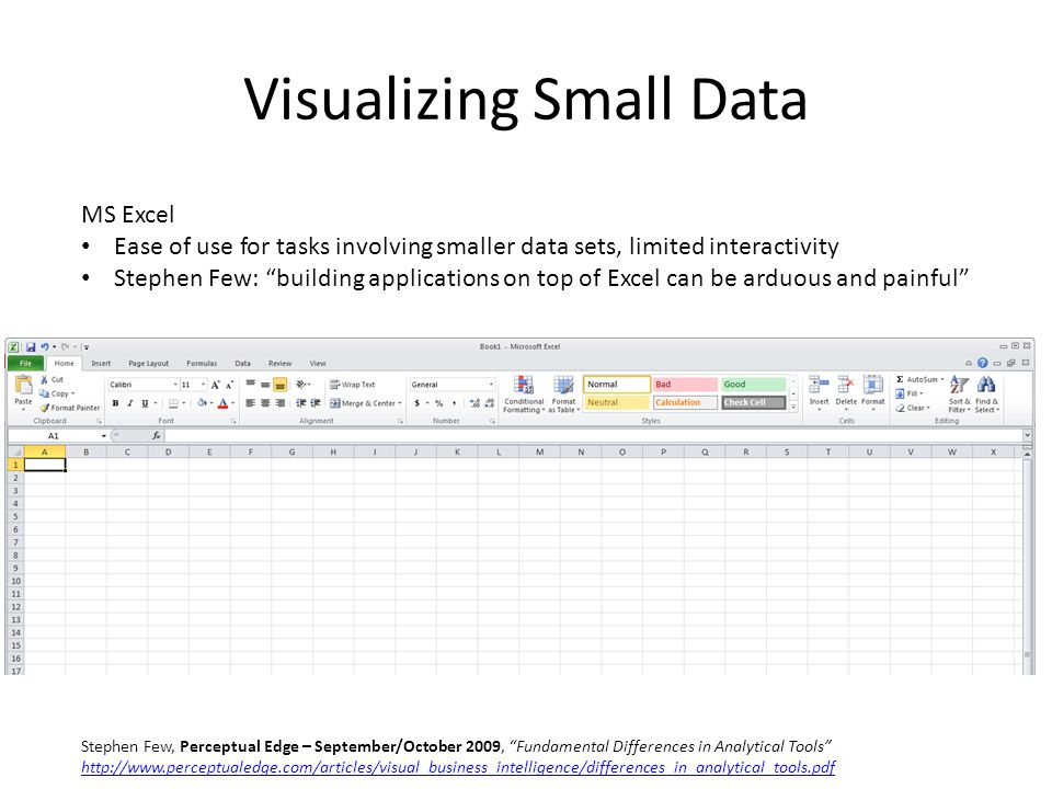 Visualizing Small Data MS Excel Ease of use for tasks involving smaller data sets, limited interactivity Stephen Few: building applications on top of Excel can be arduous and painful Stephen Few, Perceptual Edge – September/October 2009, Fundamental Differences in Analytical Tools http://www.perceptualedge.com/articles/visual_business_intelligence/differences_in_analytical_tools.pdf