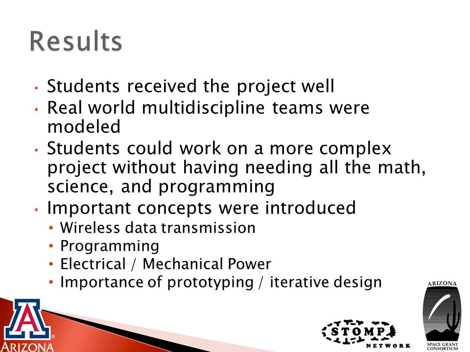 Students received the project well Real world multidiscipline teams were modeled Students could work on a more complex project without having needing all the math, science, and programming Important concepts were introduced Wireless data transmission Programming Electrical / Mechanical Power Importance of prototyping / iterative design