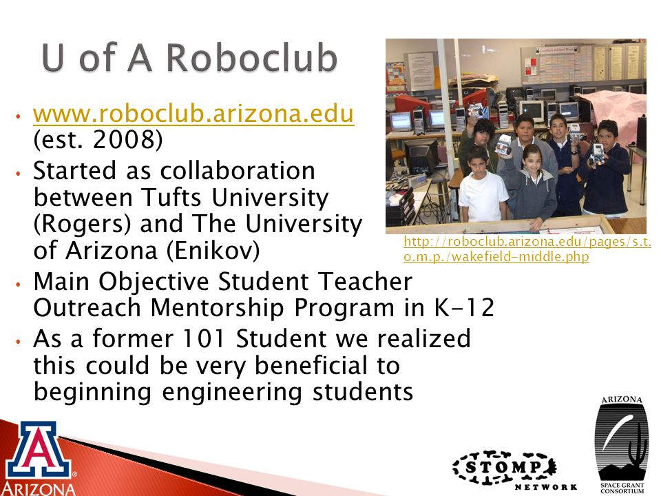University of Arizona NASA Undergraduate Research Grant for their funding.